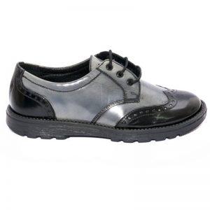 Pantofi copii scoala Frigerio Pj Shoes gri negru 31-36