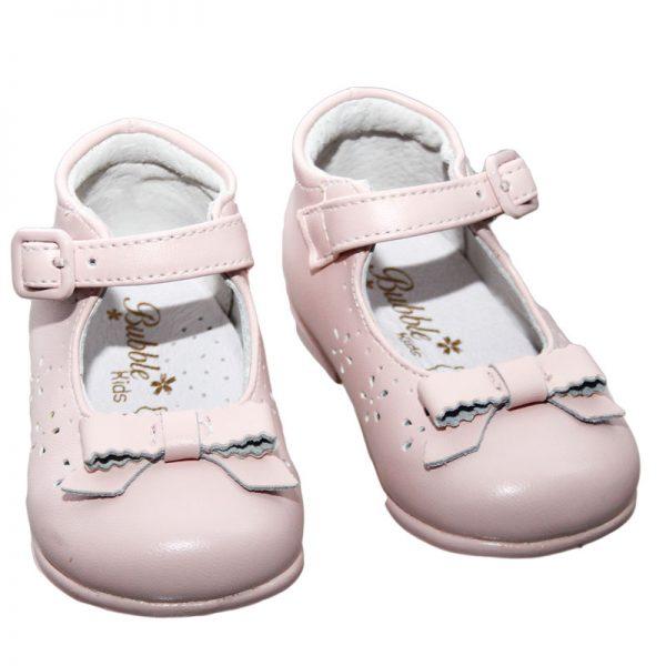 Pantofiori copii din piele naturala roz 19-24