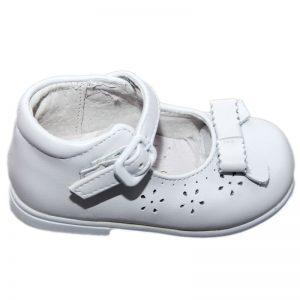 Pantofiori copii din piele naturala albi 19-24