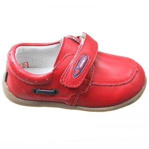 Pantofiori copii din piele naturala rosii 19-24