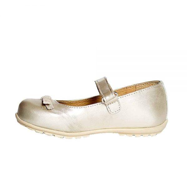 Pantofi fetite din piele naturala Candy auriu Pj Shoes 20