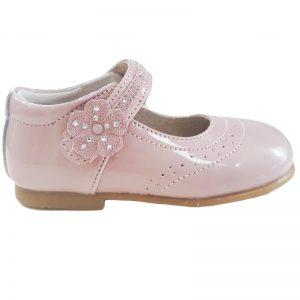 Pantofiori copii din piele naturala roz pal 20-26