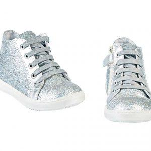 Tenisi copii din piele naturala PJ Shoes Rocky, argintiu, 24