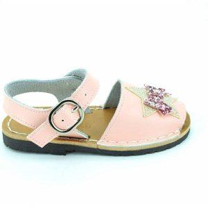 Sandale copii roz din piele naturala cu aplicatii stralucitoare 20-27