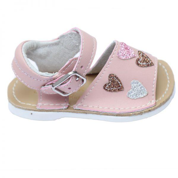 Sandalute copii roz cu inimioare primii pasi 17-22