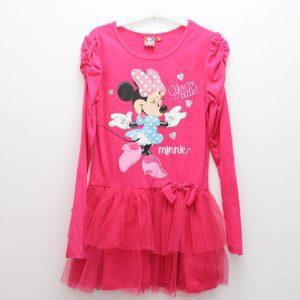 Rochie roz Minnie Mouse cu maneca lunga 8 ani/ 134 cm