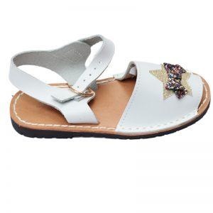 Sandale copii albe din piele naturala cu aplicatii stralucitoare 20-27