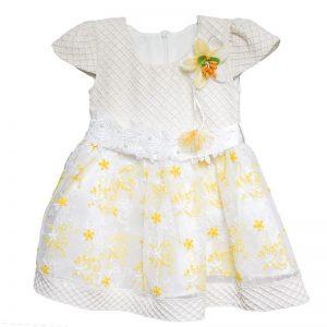 Rochita copii eleganta alb galben 2 ani