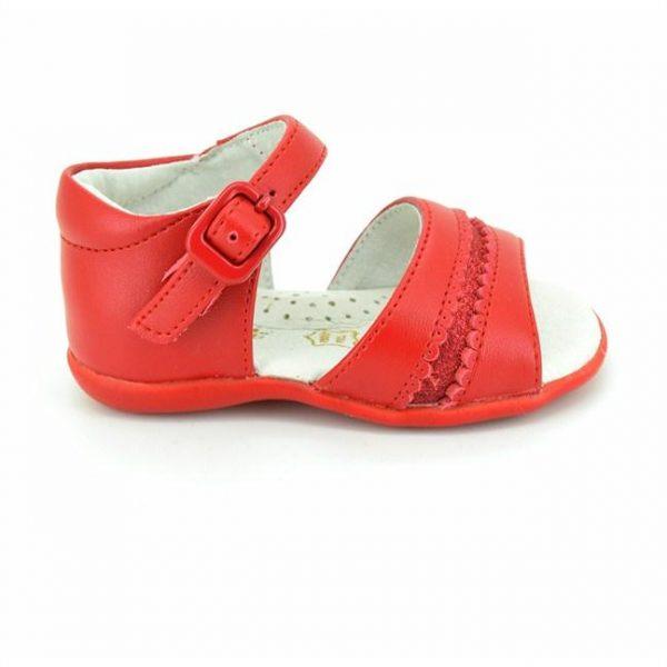 Sandalute fete rosii din piele naturala 18-24