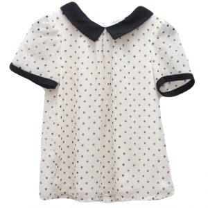 Bluza copii ivoire/ negru cu guleras 7 ani