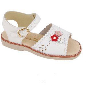 Sandalute albe cu floricele din piele naturala 27-33