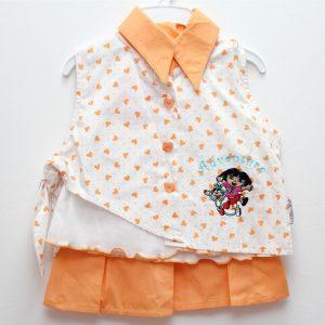Compleu vara fetite Dora 4 piese alb orange