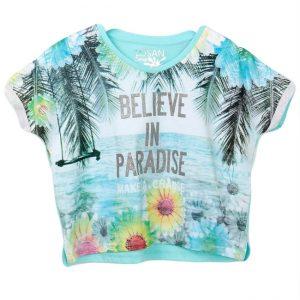 Tricou fete Losan Believe in Paradise turcoaz