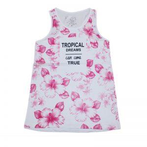 Tricou fara maneci fete Tropical Losan fucsia 8-16 ani
