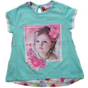 Tricou fetite cu imprimeu floral verde