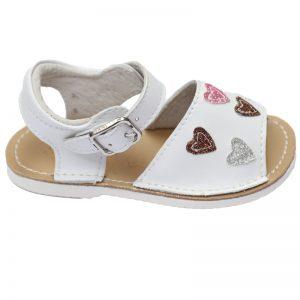 Sandalute copii albe cu inimioare primii pasi 17-22