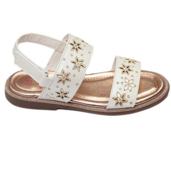 Sandale fete albe cu design perforat 28-35