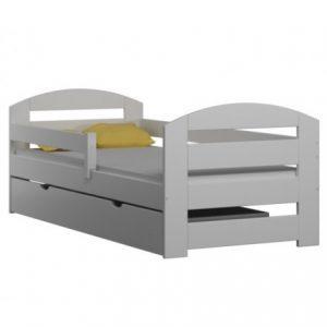 Pat pentru copii din lemn de pin KAMI alb cu saltea inclusa si sertar 180 x 80 cm