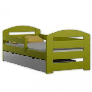 Pat pentru copii Kami verde din lemn de pin 180 x 80 , cu saltea inclusa si sertar