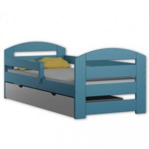 Pat pentru copii din lemn de pin KAMI albastru cu saltea inclusa si sertar 180 x 80 cm