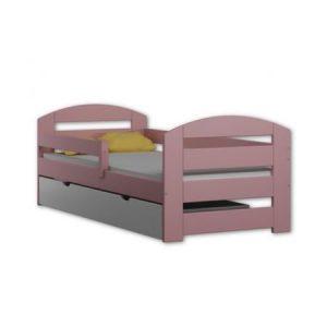 Pat pentru copii Kami roz din lemn de pin 180 x 80 , cu saltea inclusa si sertar