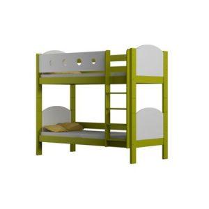 Pat supraetajat Urvis alb verde 2 copii, din lemn de pin, cu sertar si saltele incluse, 180 x 80 cm