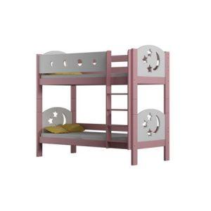 Pat supraetajat Finetia alb roz, 2 copii, din lemn de pin, cu sertar si saltele incluse, 180 x 80 cm