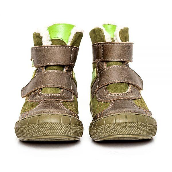 Ghete copii imblanite din piele Kiro verde