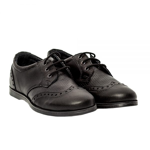 Pantofi copii scoala piele Frigerio 01 negru cu siret
