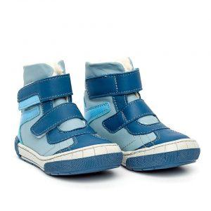 Ghete imblanite din piele KID mix blu marimea 23