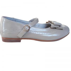 Pantofi fete din piele naturala bej cu fundita