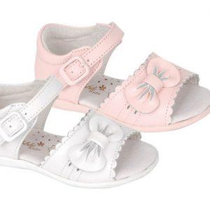 Sandale fete din piele naturala alb/roz cu fundita 18-24