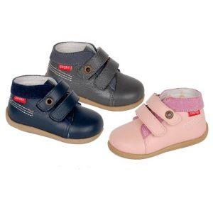Pantofiori copii din piele naturala bleumarin/gri/roz 19-24