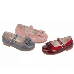 Pantofi fete cu fundita din piele roz/bordo/gri 22-28