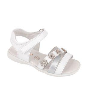Sandale fete din piele naturala alb 24-29