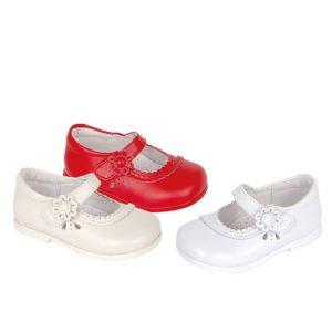 Pantofi fetite din piele naturala alb/rosu/bej 19-25
