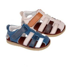 Sandale Copii din piele naturala bleumarin/crem 20-29