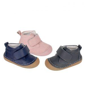 Pantofi copii din piele naturala bleumarin/gri/roz 18-23