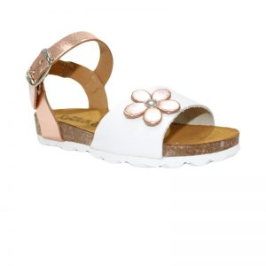Sandale fete din piele naturala alb/ bronz 24-29