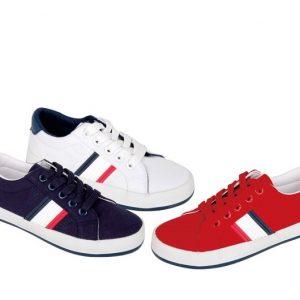 Pantofi casual cu siret bleumarin/rosu/alb  24-29