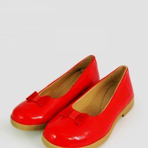 Pantofi fete pentru scoala din piele rosii lac, 30-35