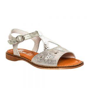 Sandale din piele pentru fete, Venus argintiu, PJ Shoes
