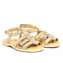 Sandale piele fete Gladiator Bej PJ Shoes, marimi 27-32