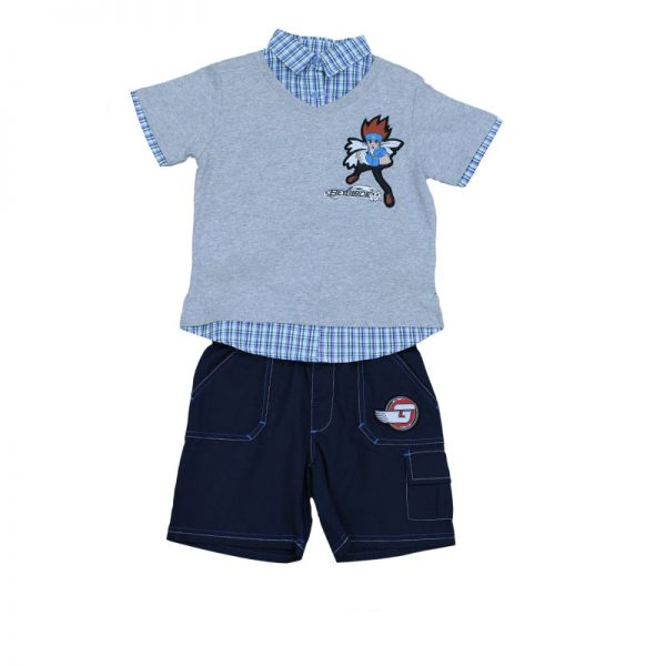 Set tricou si pantaloni scurti pentru baieti Gri/Bleumarin Beyblade, marimi 4-6 ani