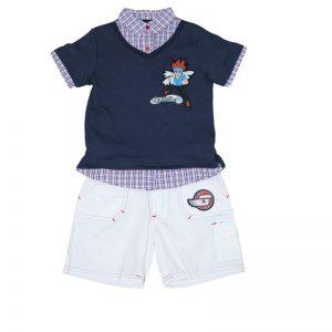 Set tricou si pantaloni scurti pentru baieti Bleumarin/Alb Beyblade, marimi 4-6 ani