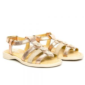 Sandale piele fete Gladiator Bronz PJ Shoes, marimi 32