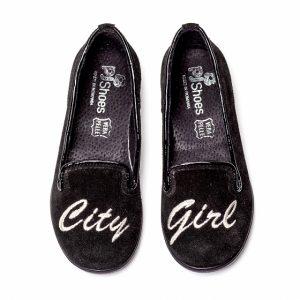 Pantofi balerini fete Pj Shoes Angel Negru Argintiu 27-37