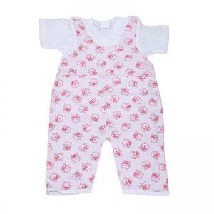 Compleu bebelusi trico alb si salopeta roz fara maneci, 6-12 luni