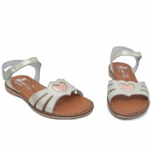 Sandale din piele pentru fete Core argintiu PJ Shoes, marimi 27-30