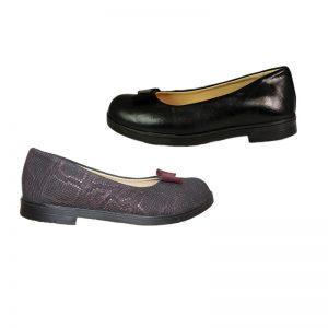 Pantofi fete pentru scoala din piele naturala negru/bordo , 30-35